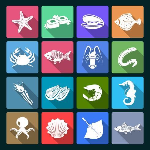 Icônes de fruits de mer mis en blanc vecteur