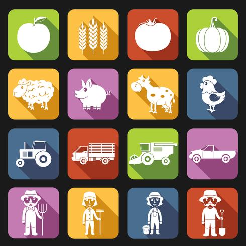 Ferme Icons Set Flat vecteur