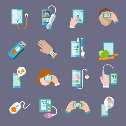 Icônes de santé mobiles mis à plat vecteur