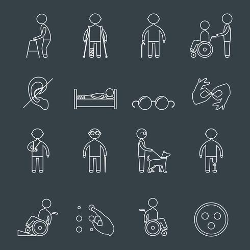 Contours d'icônes désactivés vecteur