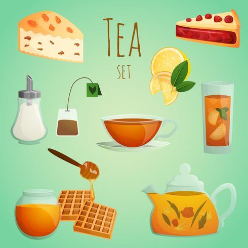 Ensemble décoratif à thé vecteur