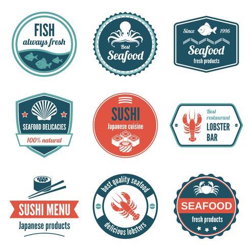 Jeu d'étiquettes de fruits de mer vecteur
