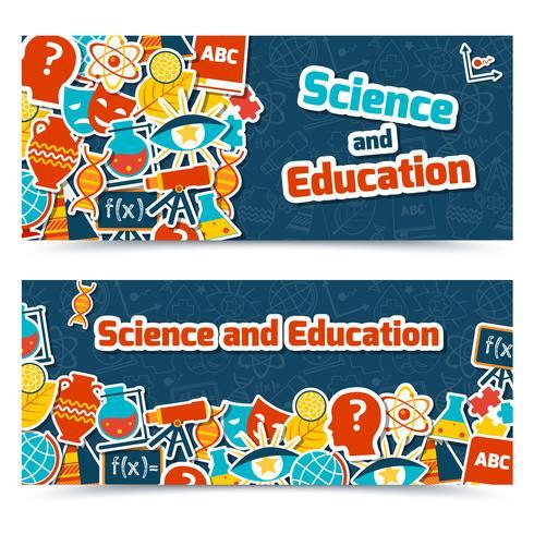 Bannières de sciences de l'éducation vecteur