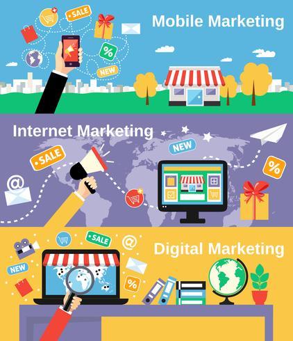 Ensemble de bannières de ligne marketing vecteur