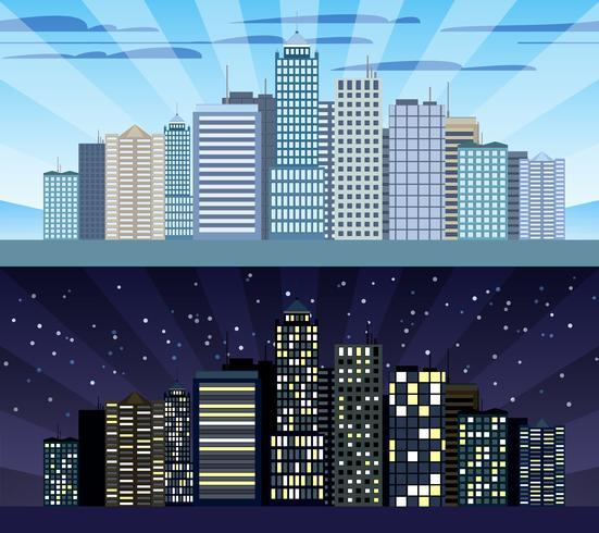 Paysage urbain frontière jour et nuit vecteur
