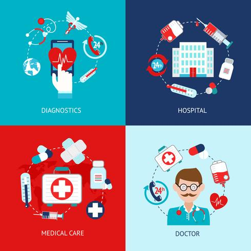 Ensemble plat d'icônes médicales vecteur