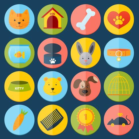 Jeu d'icônes d'animaux domestiques vecteur