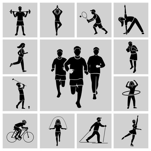 Jeu d'icônes de sport noir vecteur