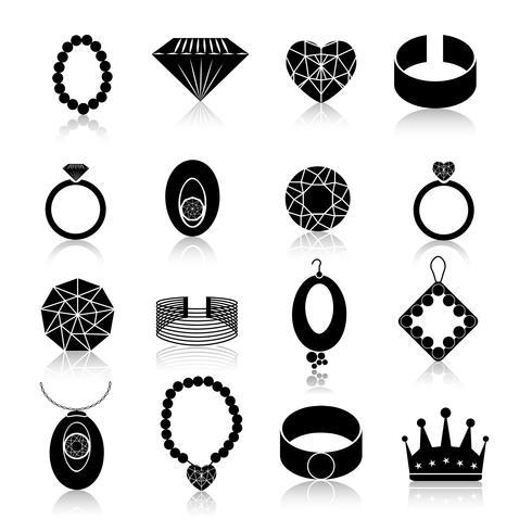 Jeu d'icônes de bijoux noir vecteur