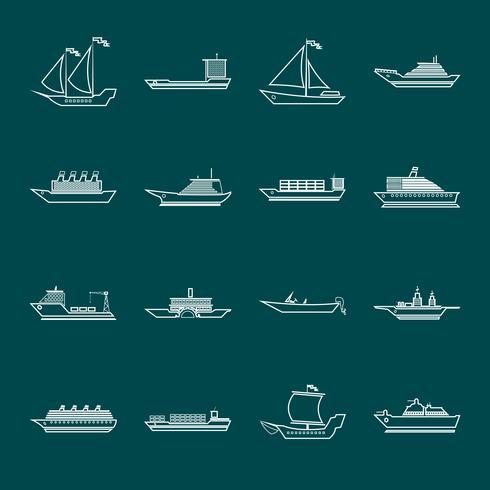 Icônes de navire et bateaux définir le contour vecteur