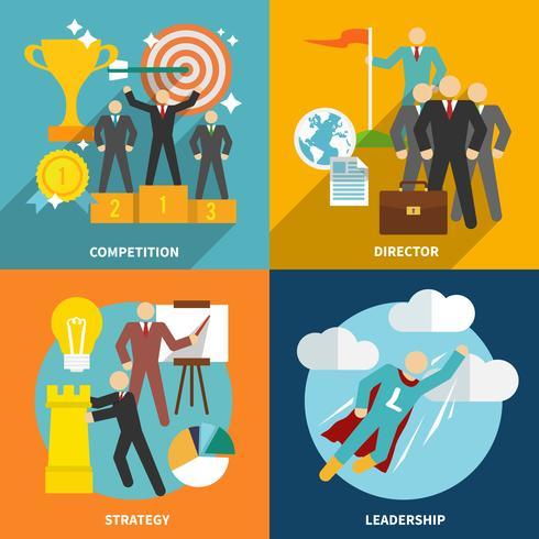 Icônes de leadership à plat vecteur