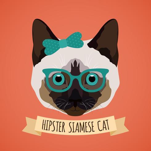Portrait de chat hipster vecteur