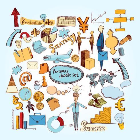 Ensemble d'affaires doodle vecteur
