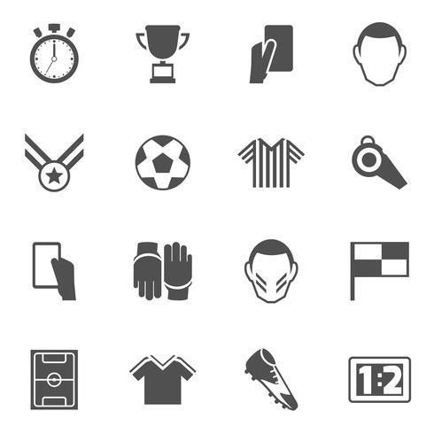 Icônes de football noir vecteur