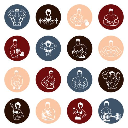 Bodybuilding icônes rondes vecteur
