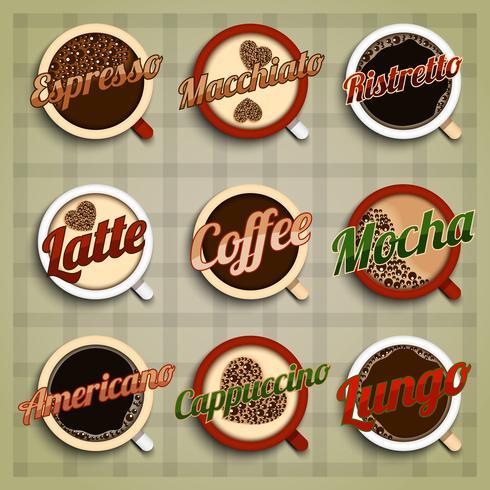 Jeu d'étiquettes de menu café vecteur