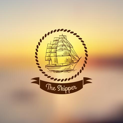 Emblème de navire sur fond clair vecteur