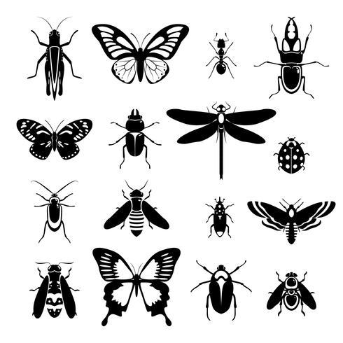 Icônes d'insectes définies en noir et blanc vecteur