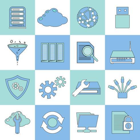 Ligne plate d'icônes de base de données vecteur