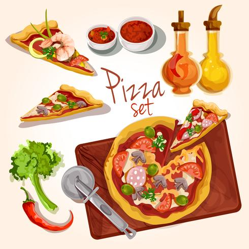 Ensemble d'ingrédients de pizza vecteur