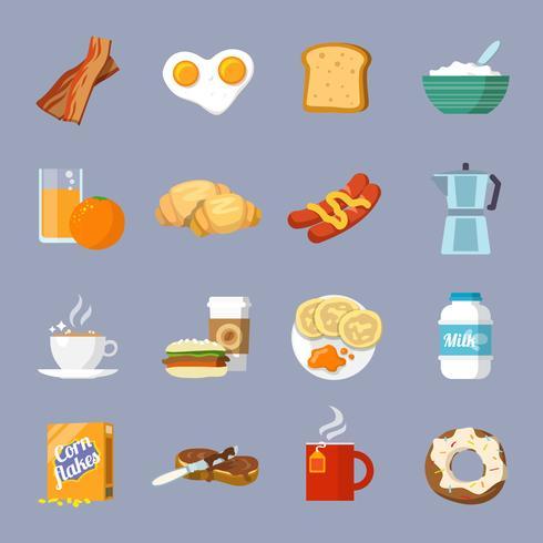 Petit déjeuner icône plat vecteur