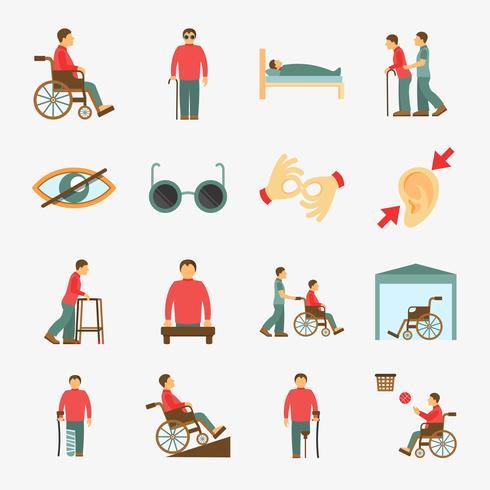 Icônes handicapés mis à plat vecteur