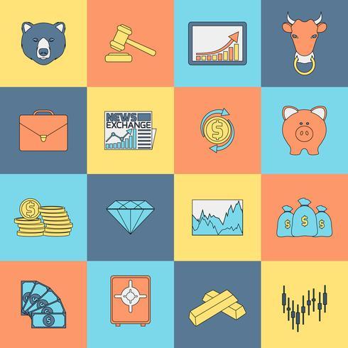 Ligne plate d'icônes d'échanges financiers vecteur