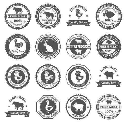 Jeu d'étiquettes de viande vecteur