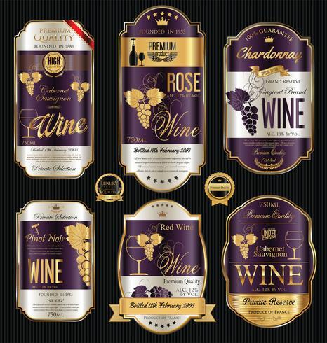 Étiquette de vin de luxe doré vecteur