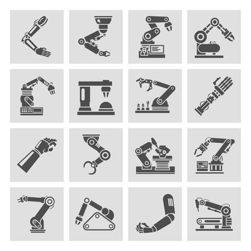 Icônes bras robotique noir vecteur