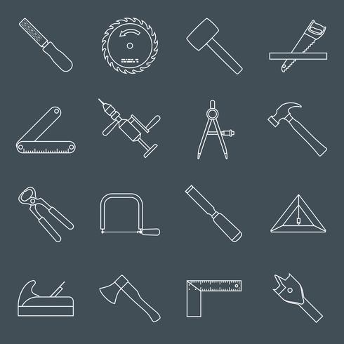 Contour des icônes d'outils de menuiserie vecteur