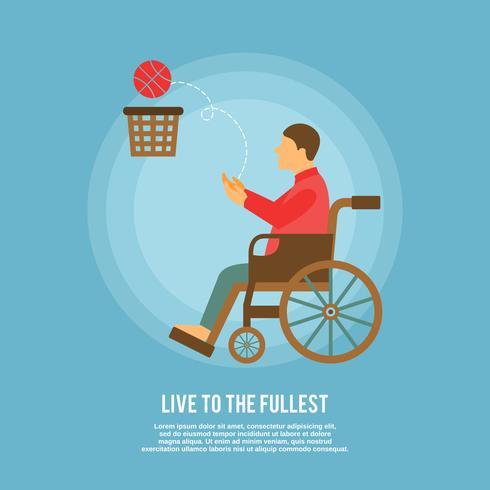 Affiche de basketball en fauteuil roulant vecteur