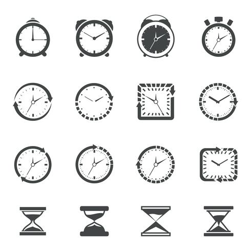 Jeu d'icônes d'horloge noir vecteur