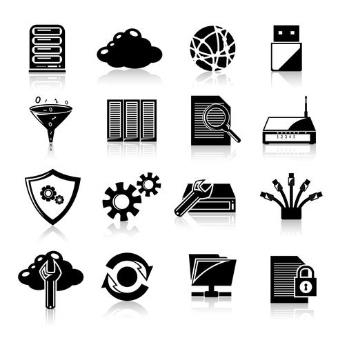 Icônes de base de données noir vecteur