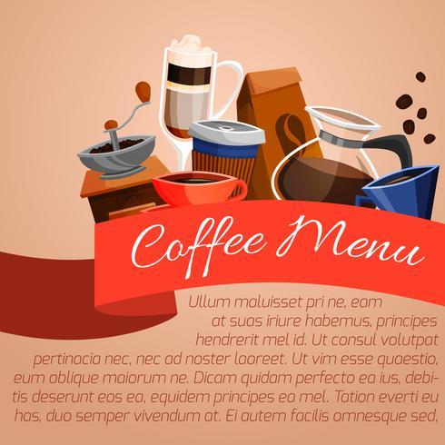 Affiche menu café vecteur