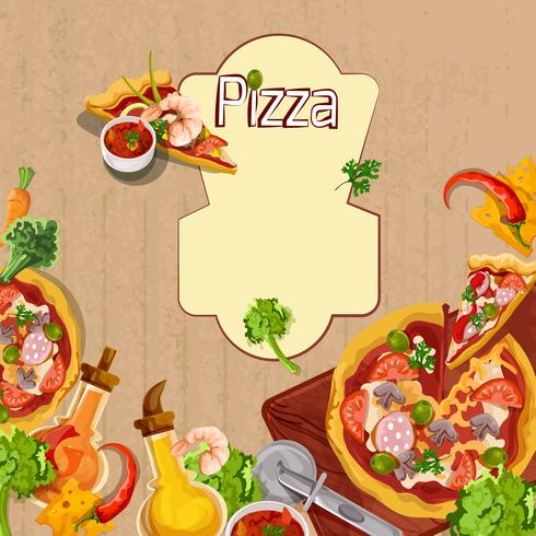 Modèle de fond de pizza vecteur