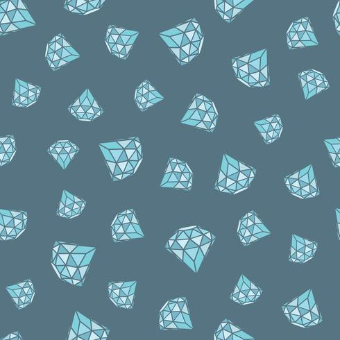 Modèle sans couture de diamants bleus géométriques sur fond gris. Conception de cristaux tendance hipster. vecteur