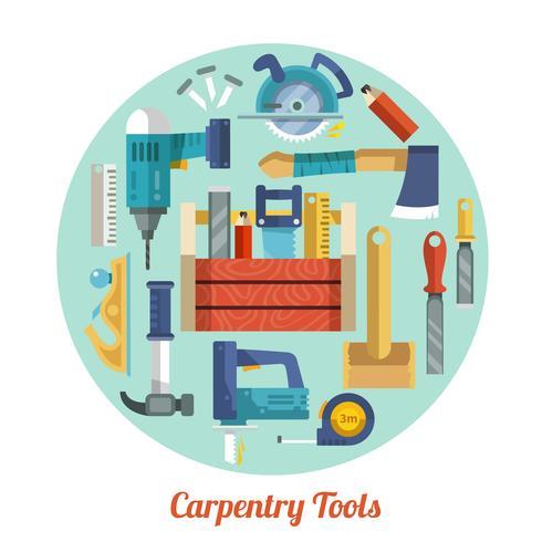 Set d'outils de menuiserie vecteur