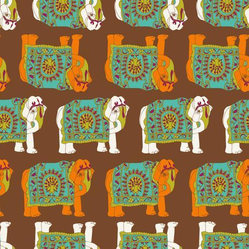 Modèle sans couture d'éléphant d'Inde vecteur