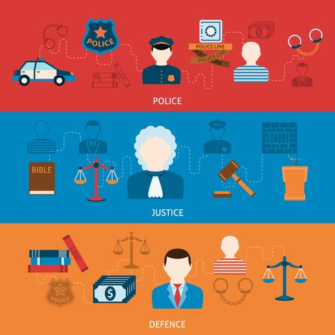 Crime et punitions bannières plates horizontales vecteur