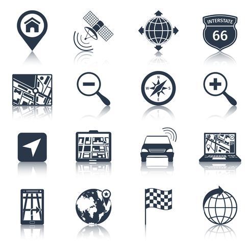 Icônes de navigation noir vecteur