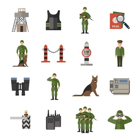 icônes de garde frontière plate vecteur