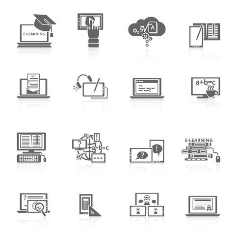E-learning icon noir vecteur