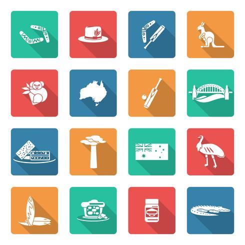 Australie icônes définies en blanc vecteur