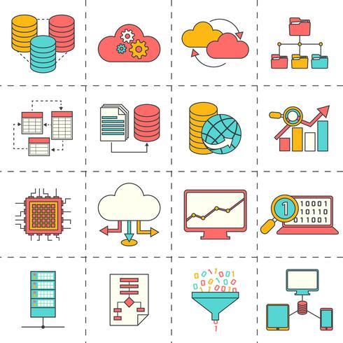 Icônes de ligne plate d'analyse de données vecteur