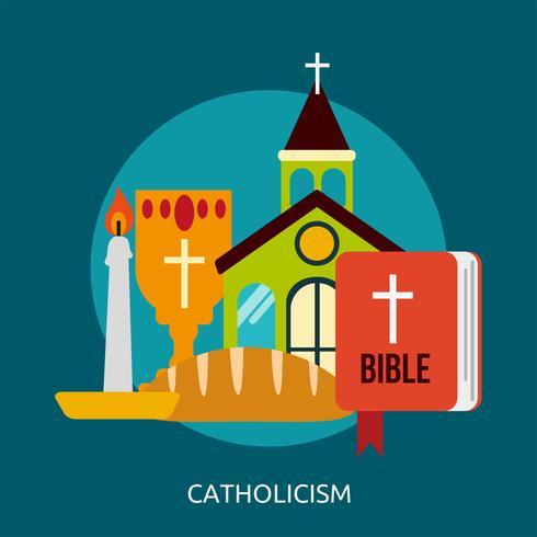 Catholicisme Illustration conceptuelle Design vecteur