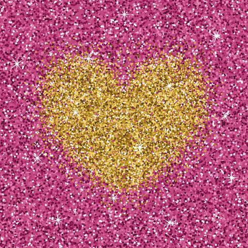Coeur de paillettes d'or jaune sur la texture rose pourpre. Fond d'amour chatoyant. vecteur