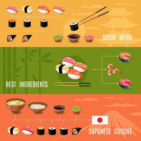 Bannières alimentaires asiatiques vecteur