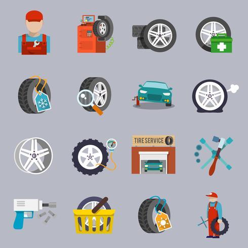 icône du service de pneus à plat vecteur