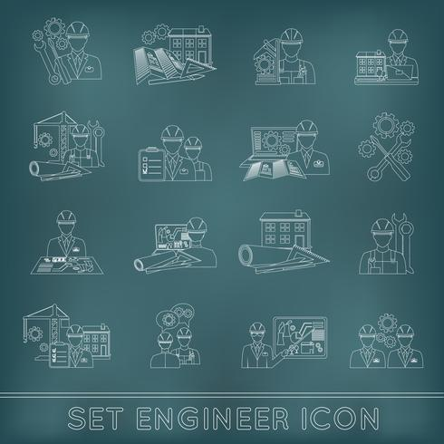 Ingénieur icône contour vecteur